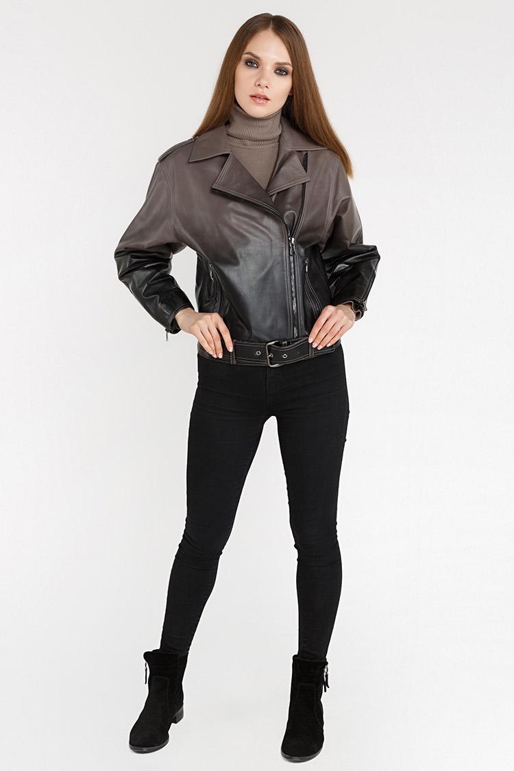 Куртка жiноча з натуральної шкіри коричнева, модель DC-1737