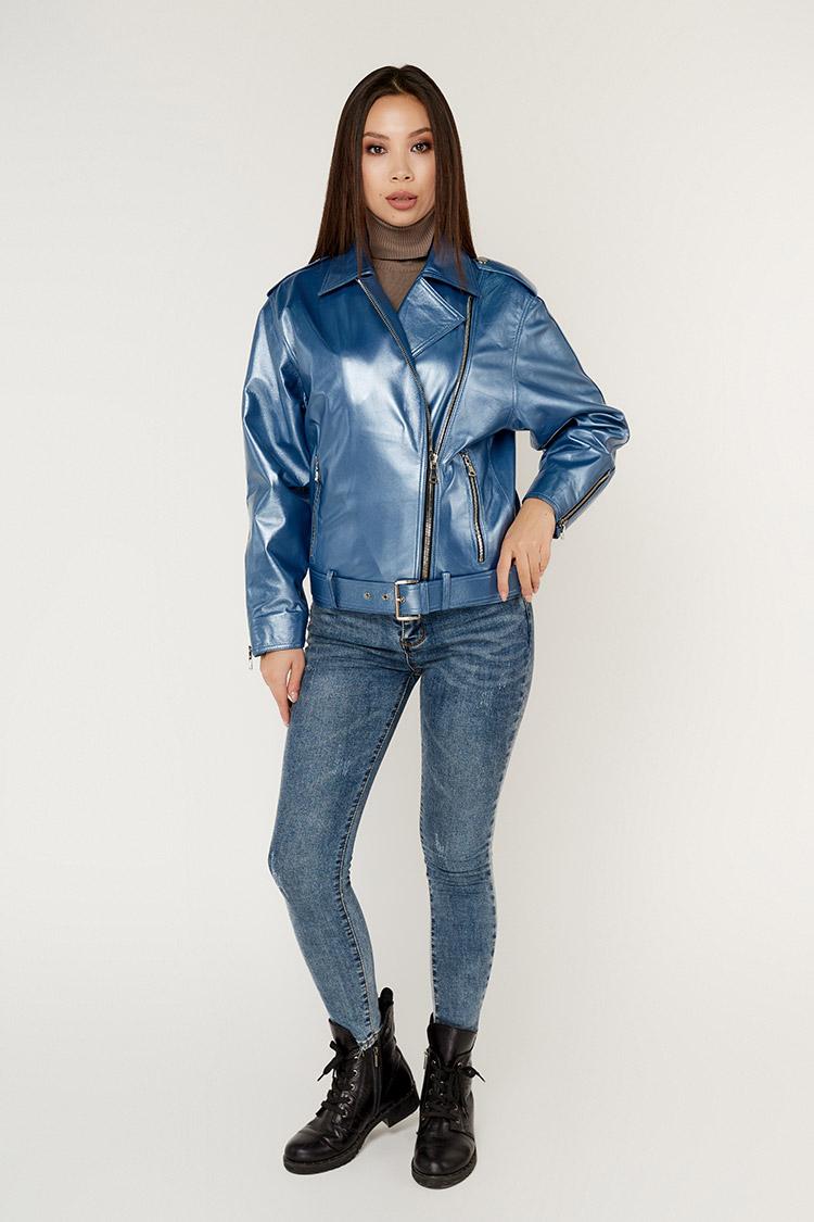 Куртка жiноча з натуральної шкіри синя, модель DC-1737