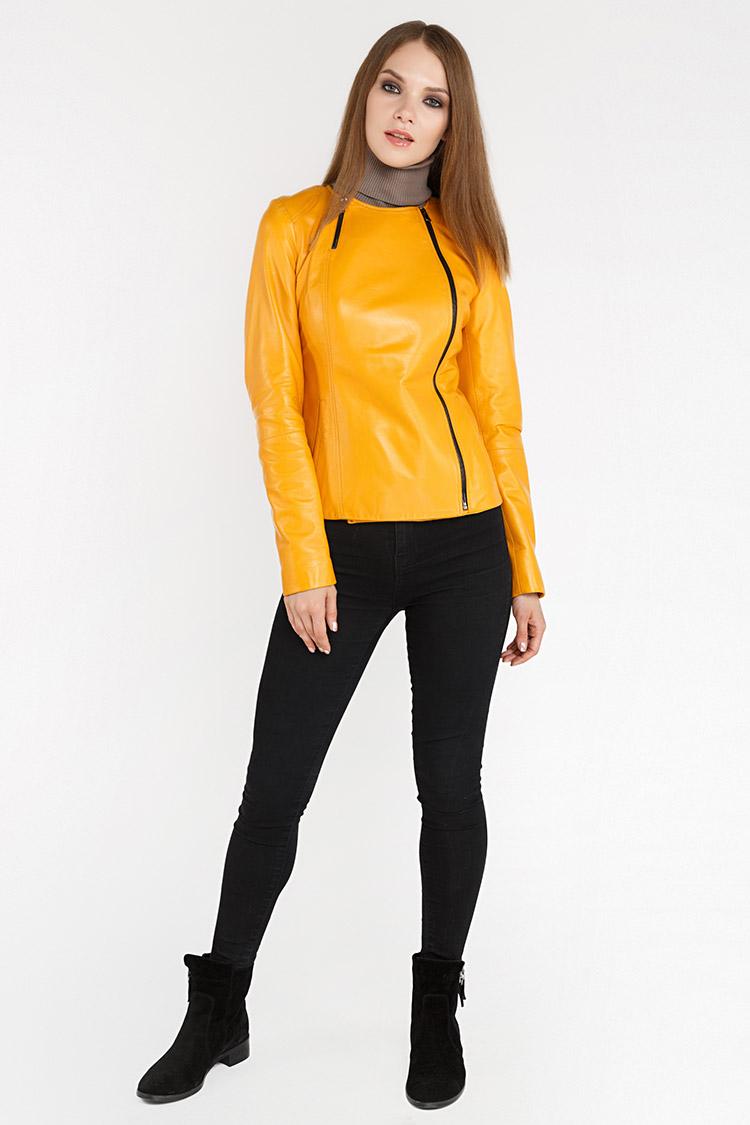 Куртка женская из натуральной кожи желтая, модель RC-32140