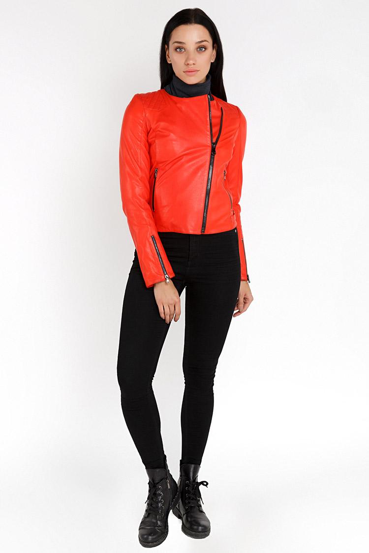 Куртка женская из натуральной кожи красная, модель RC-32200