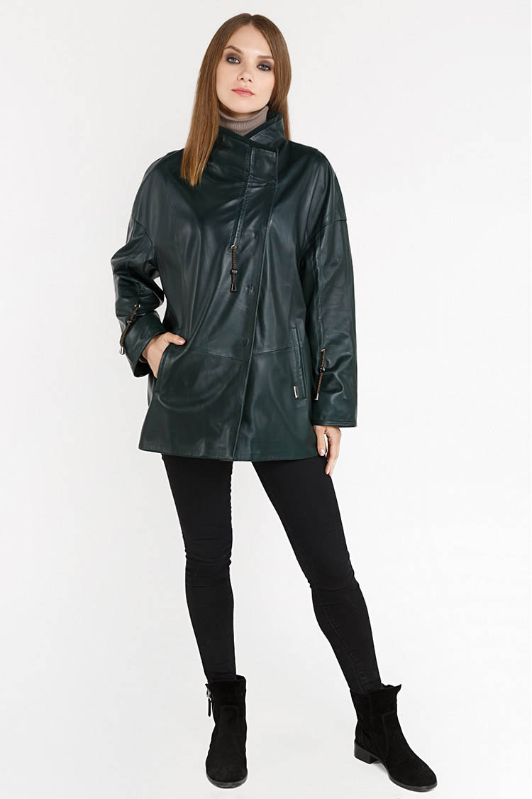 Куртка женская из натуральной кожи зеленая, модель DC-1785