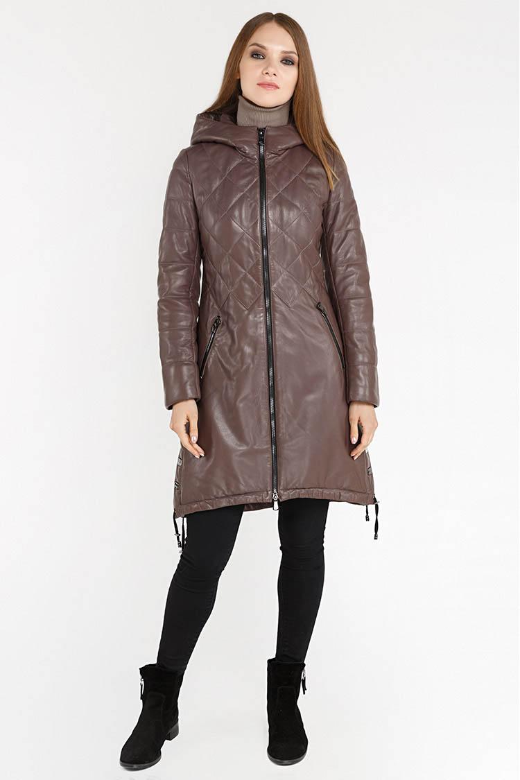 Куртка женская из натуральной кожи коричневая, модель RC-32040/KPS