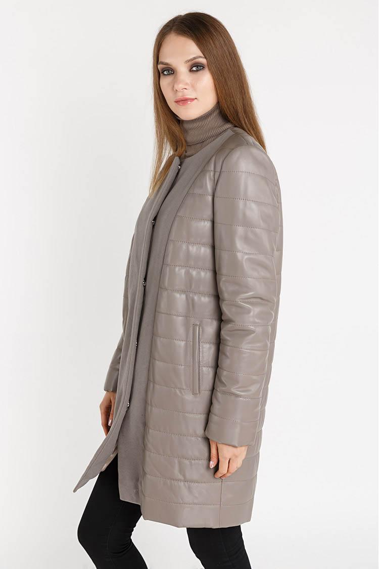 Куртка женская из натуральной кожи коричневая, модель RC-32270