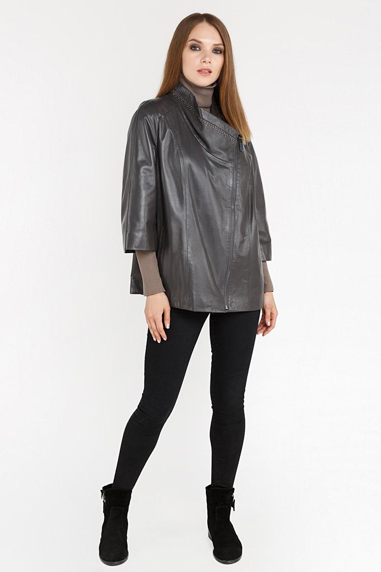 Куртка женская из натуральной кожи серая, модель Z-1309