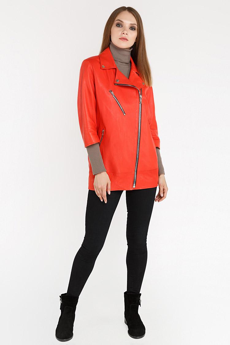 Куртка женская из натуральной кожи красная, модель RC-32190