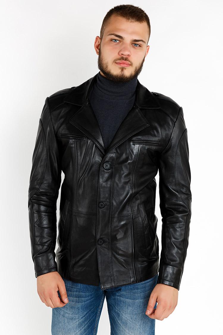 Куртка мужская из натуральной кожи черная, модель YL-21