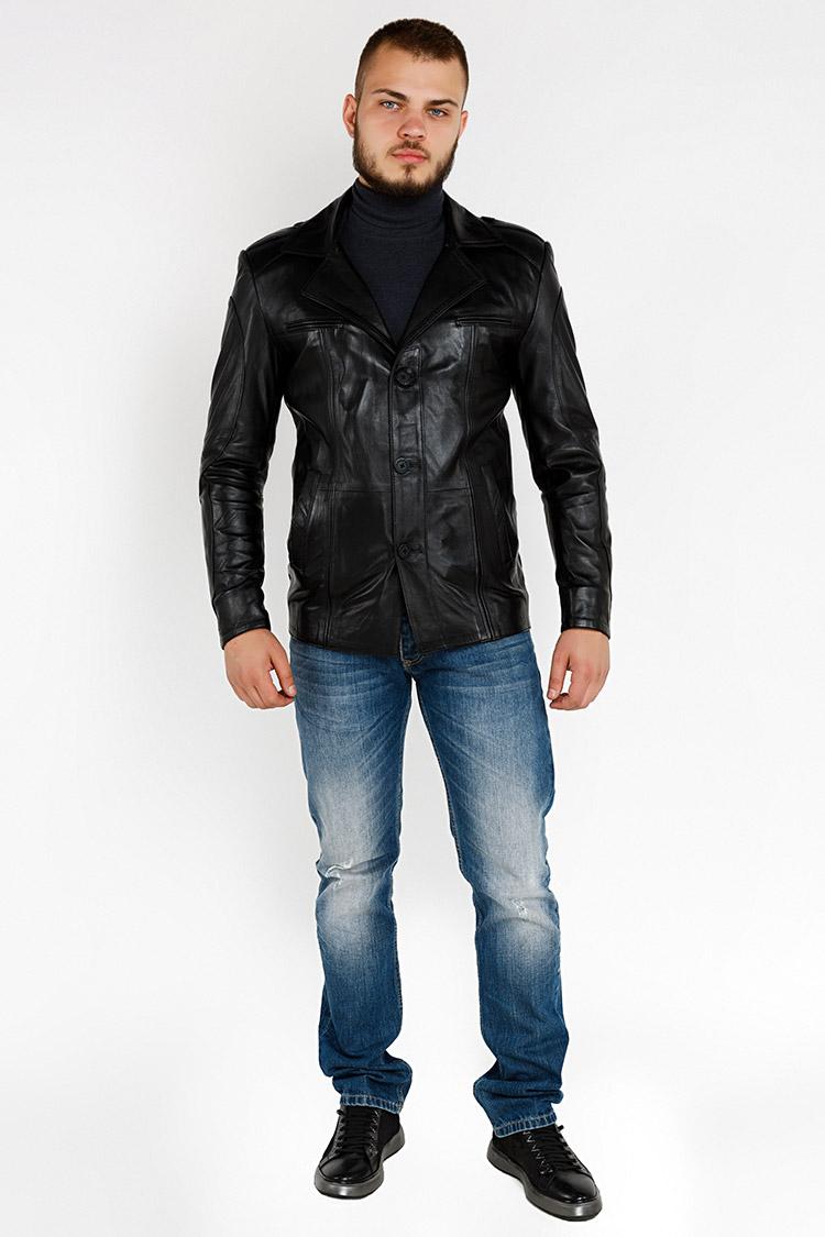 Куртка чоловіча з натуральної шкіри чорна, модель YL-21