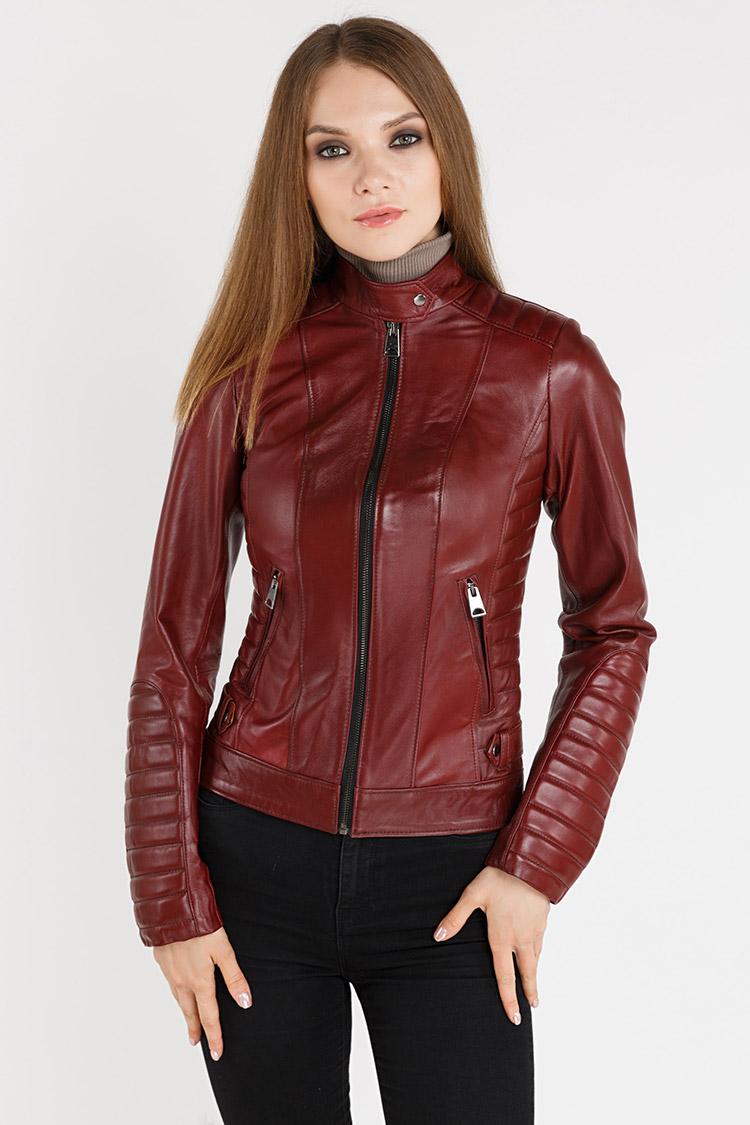 Куртка женская из натуральной кожи красная, модель 061