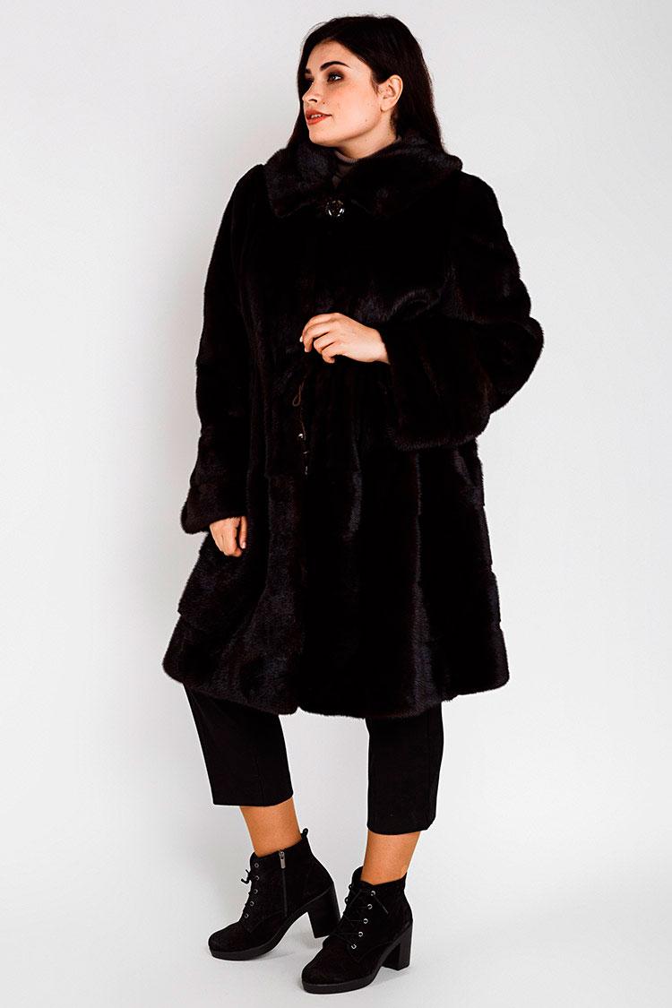 Шуба женская из норки коричневая, модель A 070-2/100/KPS