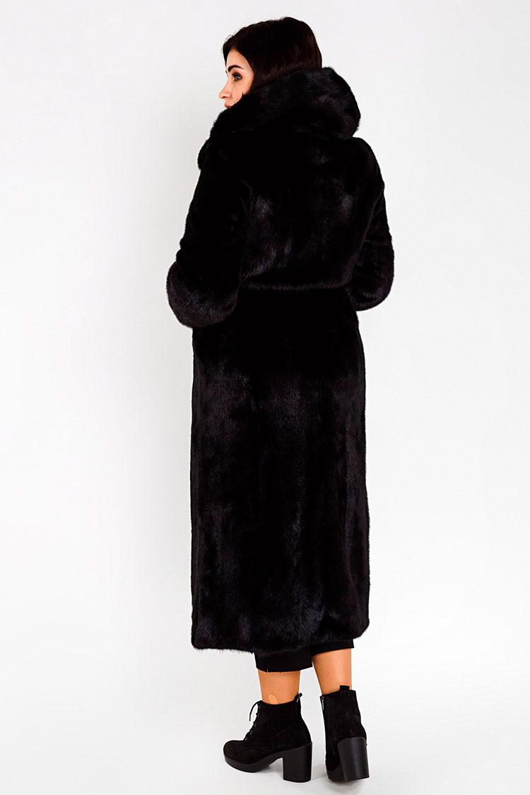 Шуба жiноча з норки чорна, модель 8008/120/KPS
