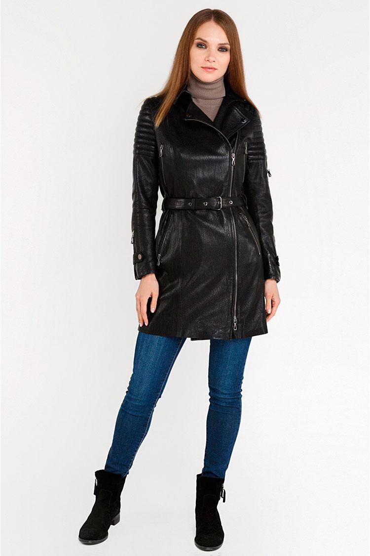 Куртка женская из натуральной кожи черная, модель ZK-06