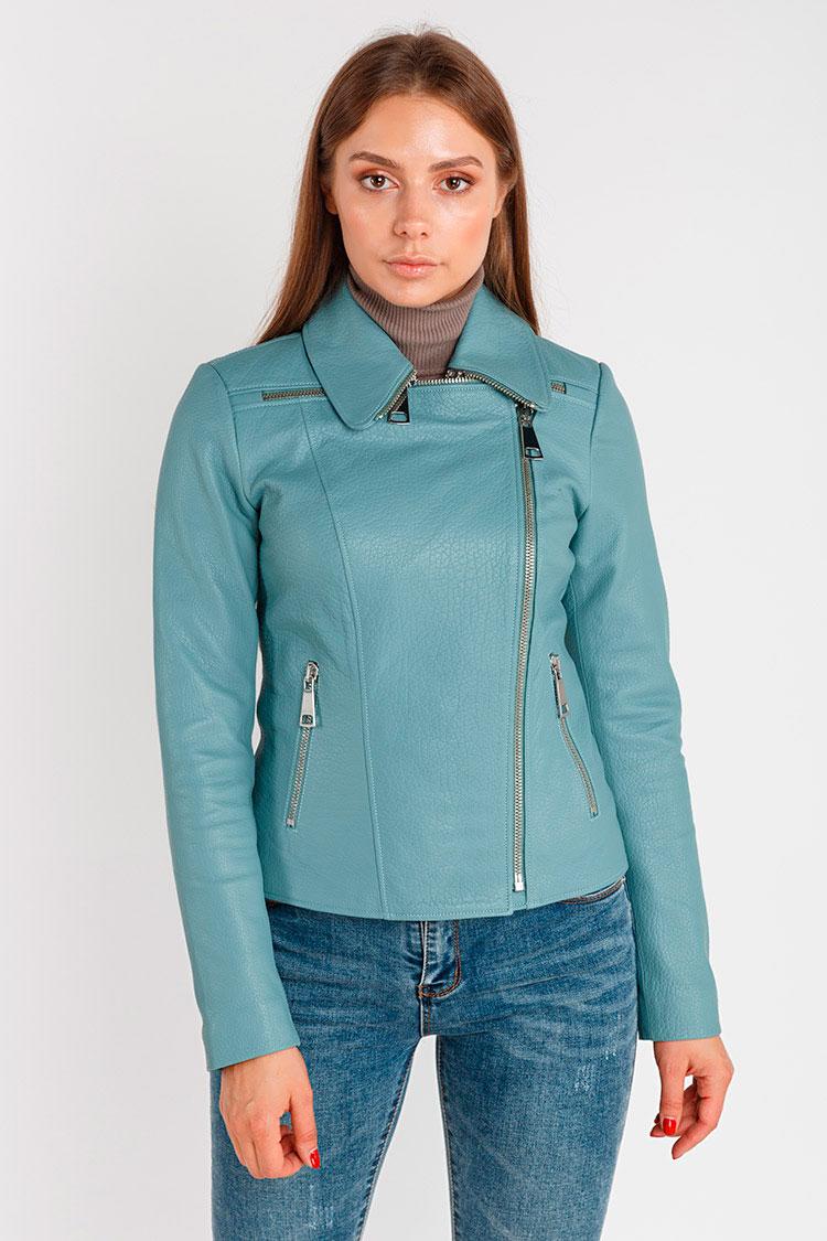 Куртка жiноча з натуральної шкіри синя, модель 9007