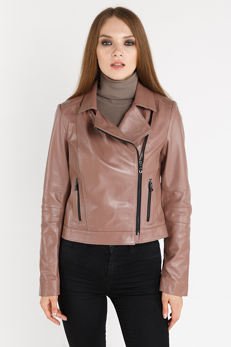Куртка женская из натуральной кожи розовая, модель 4005