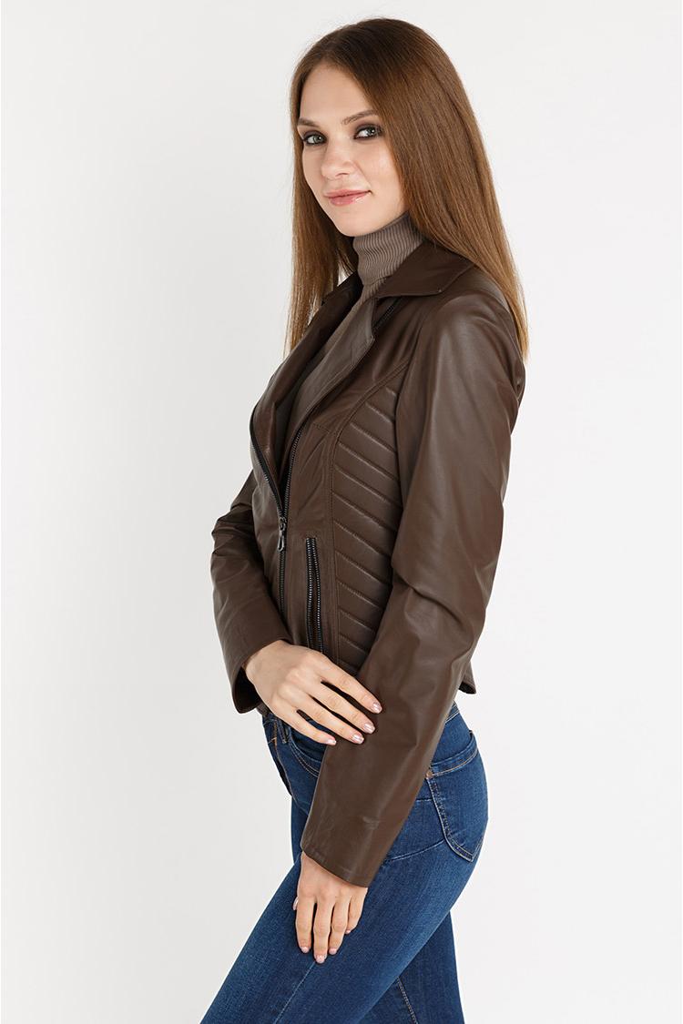 Куртка женская из натуральной кожи коричневая, модель 4012