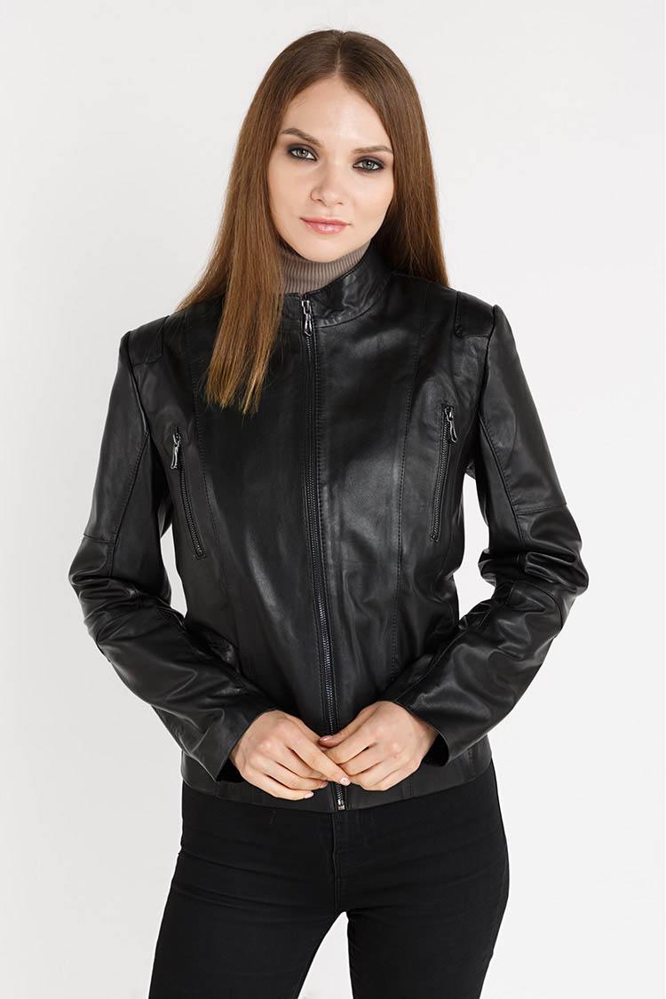 Куртка жiноча з натуральної шкіри чорна, модель 023