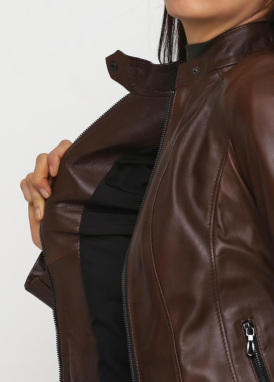 Куртка женская из натуральной кожи коричневая, модель 4006
