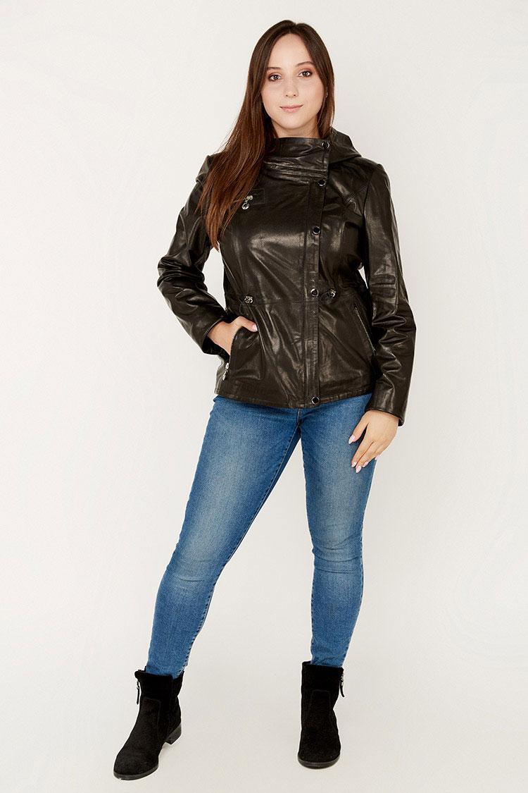 Куртка женская из натуральной кожи черная, модель B-1330/KPS