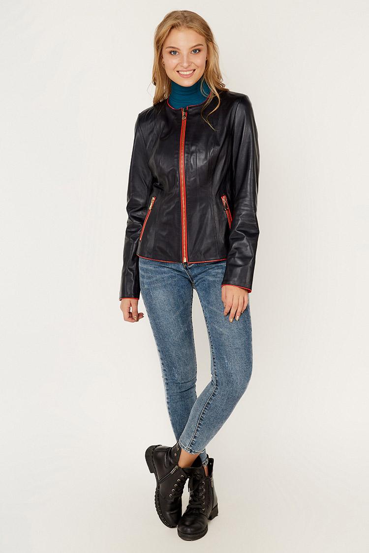 Куртка женская из натуральной кожи синяя, модель RC-M-50