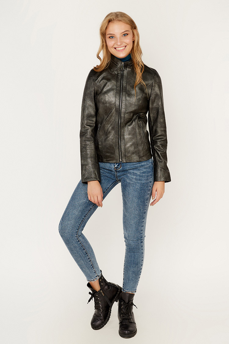 Куртка женская из натуральной кожи черная, модель DC-1668