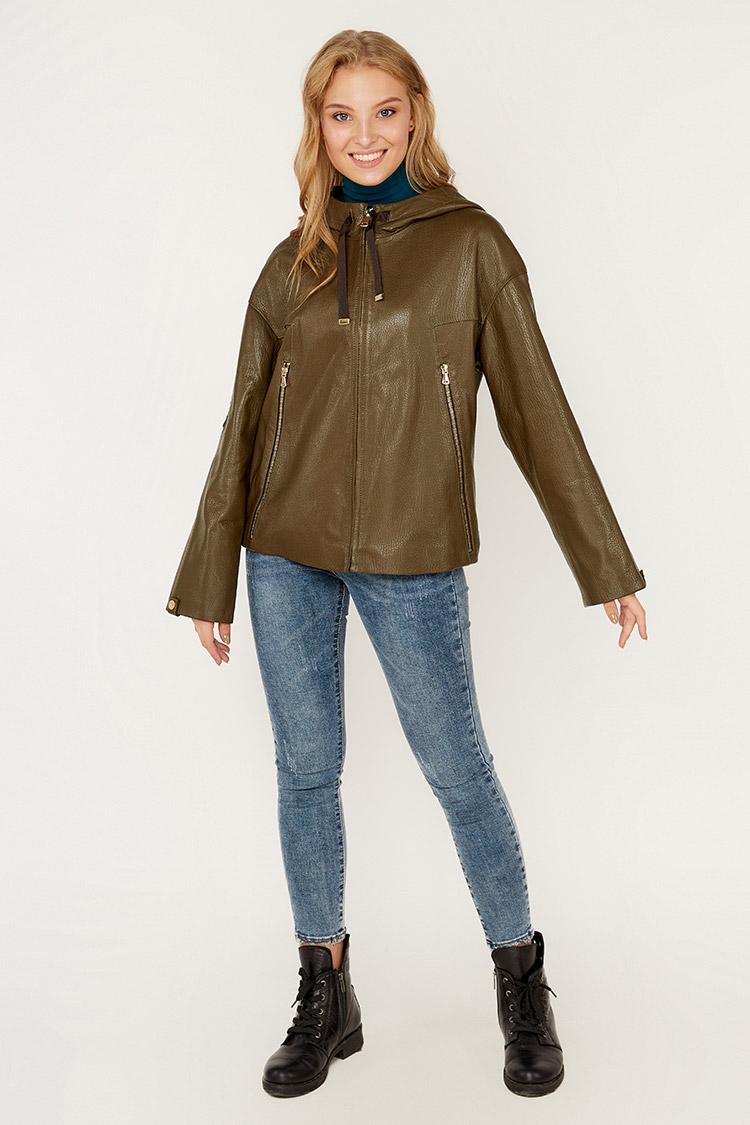 Куртка женская из натуральной кожи зеленая, модель DC-1668/60/KPS