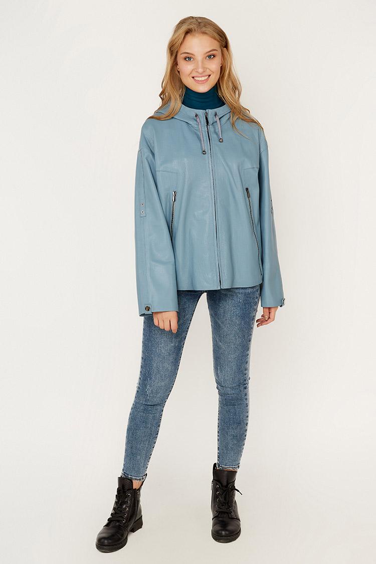 Куртка женская из натуральной кожи синяя, модель DC-1668/60/KPS