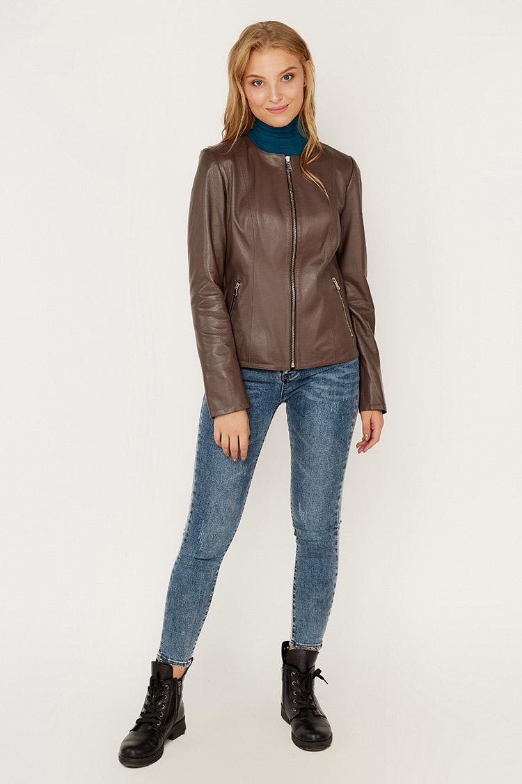Куртка женская из натуральной кожи коричневая, модель RC-M-50