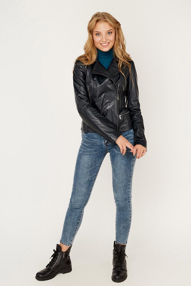 Куртка женская из натуральной кожи серая, модель DC-1681