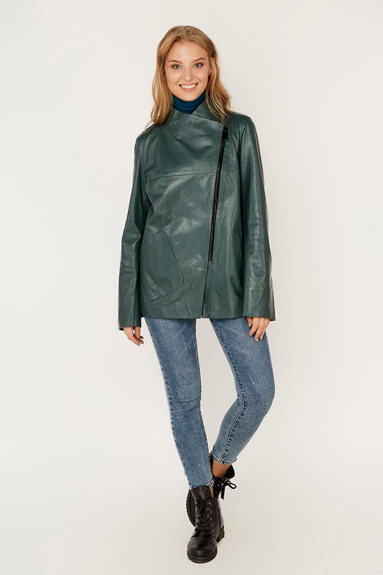 Куртка женская из натуральной кожи зеленая, модель 338