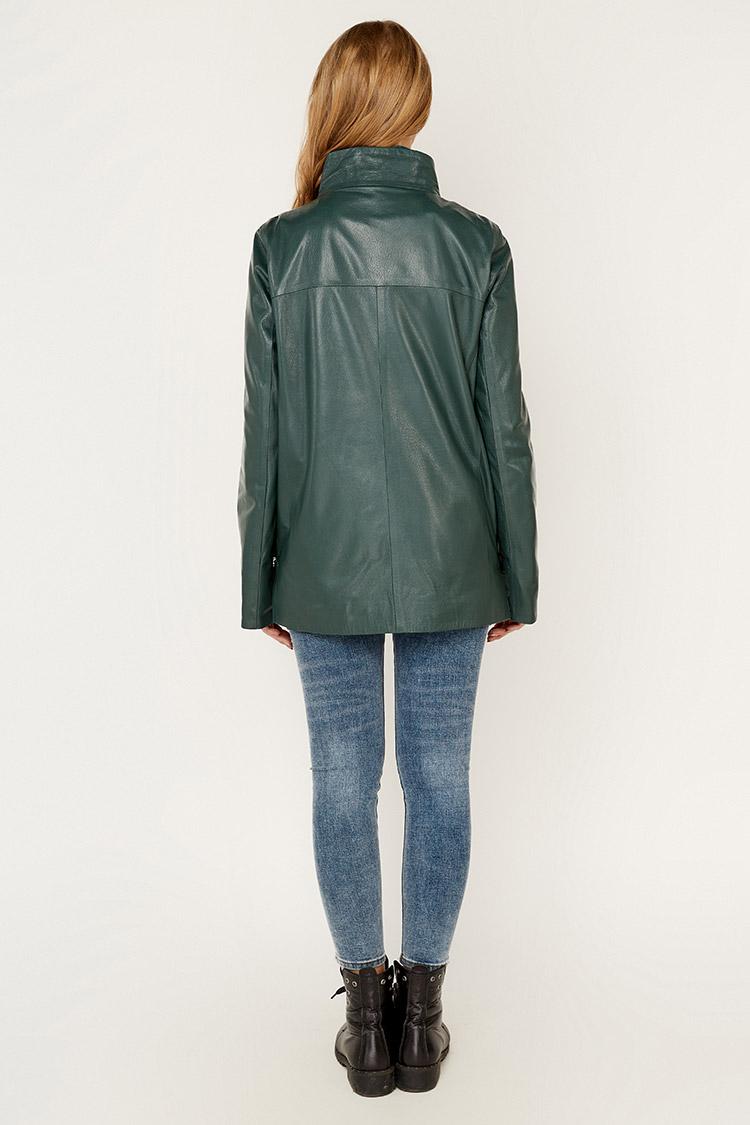 Куртка жiноча з натуральної шкіри зелена, модель 338