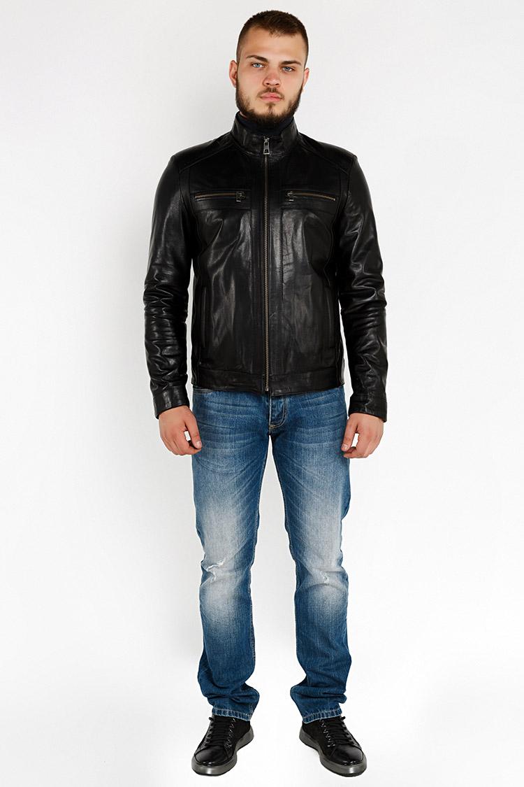 Куртка чоловіча з натуральної шкіри чорна, модель YL-39