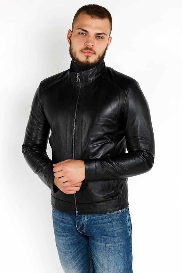 Куртка мужская из натуральной кожи черная, модель YL-40