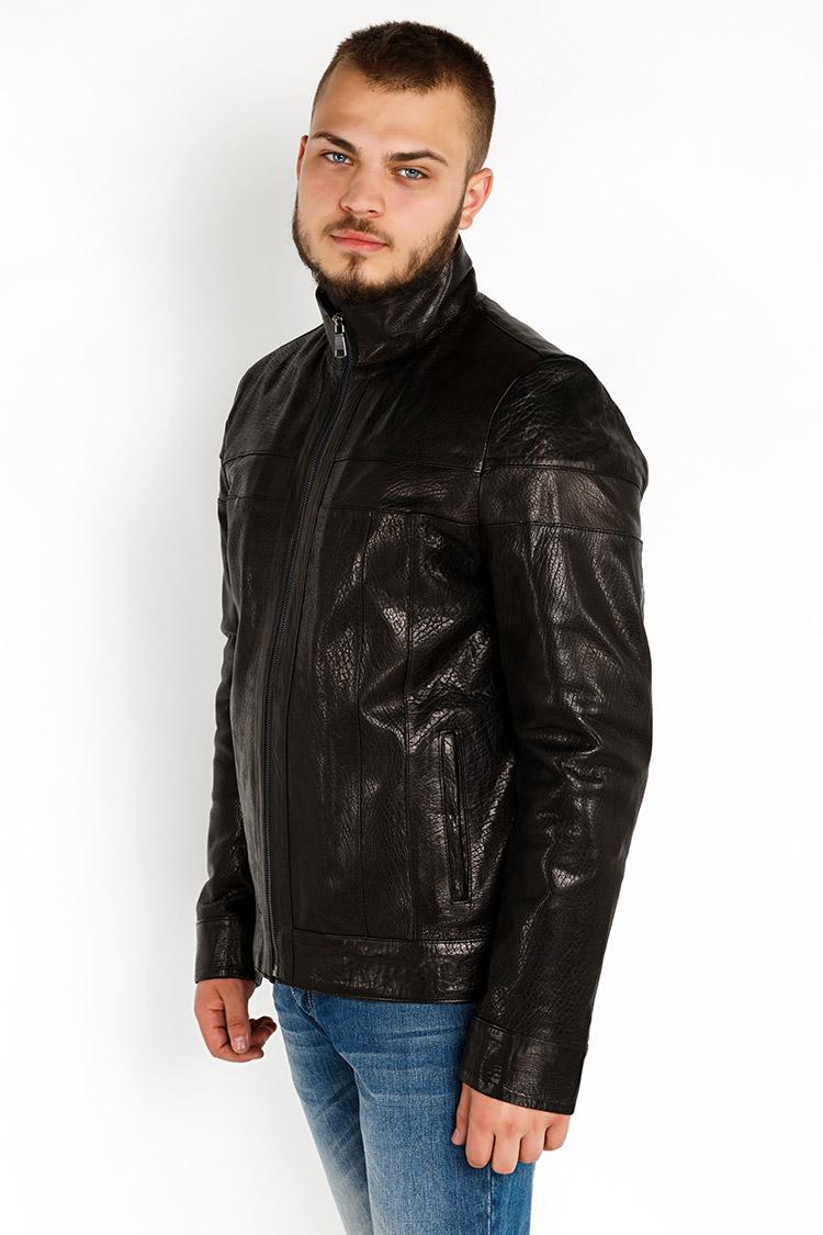 Куртка мужская из натуральной кожи черная, модель YL-42