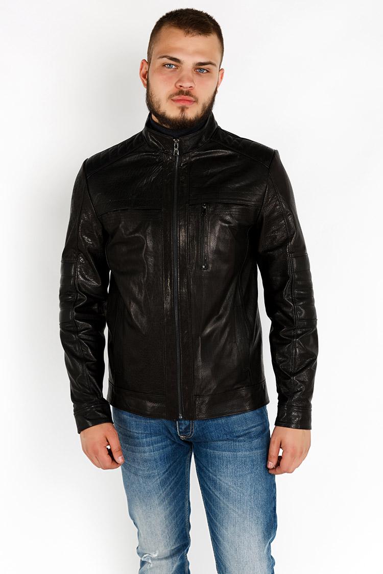 Куртка мужская из натуральной кожи черная, модель YL-43