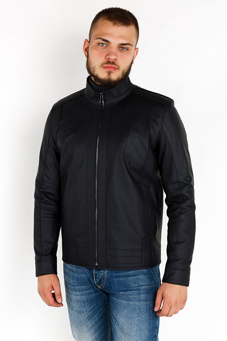 Куртка мужская из натуральной кожи синяя, модель YL-45