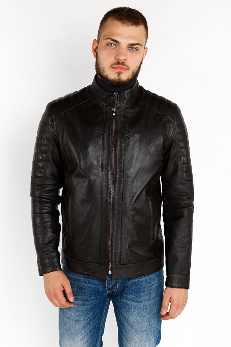 Куртка мужская из натуральной кожи коричневая, модель YL-57