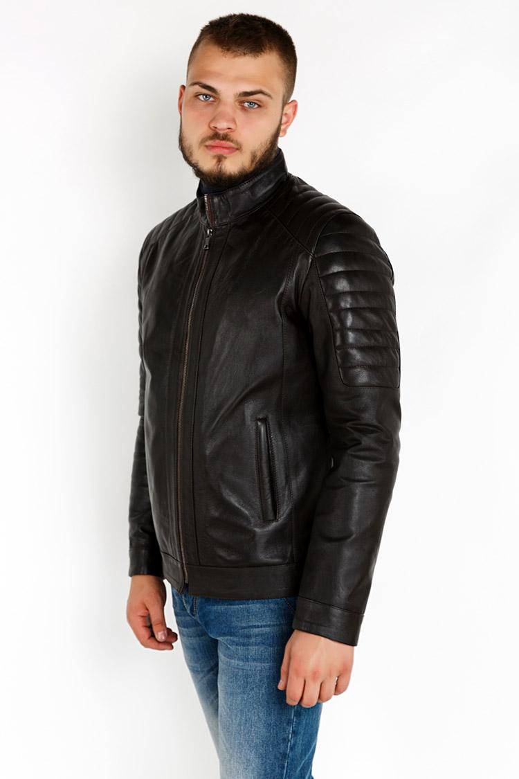 Куртка чоловіча з натуральної шкіри коричнева, модель YL-57