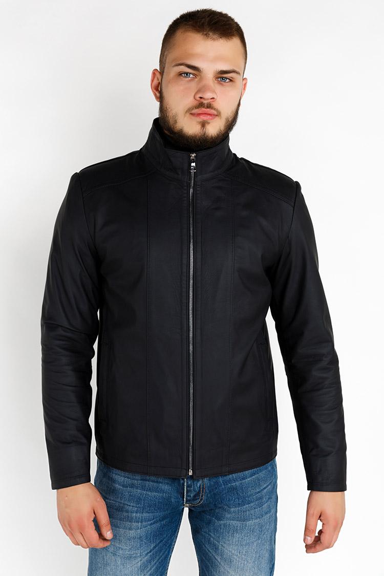 Куртка мужская из натуральной кожи синяя, модель YL-61