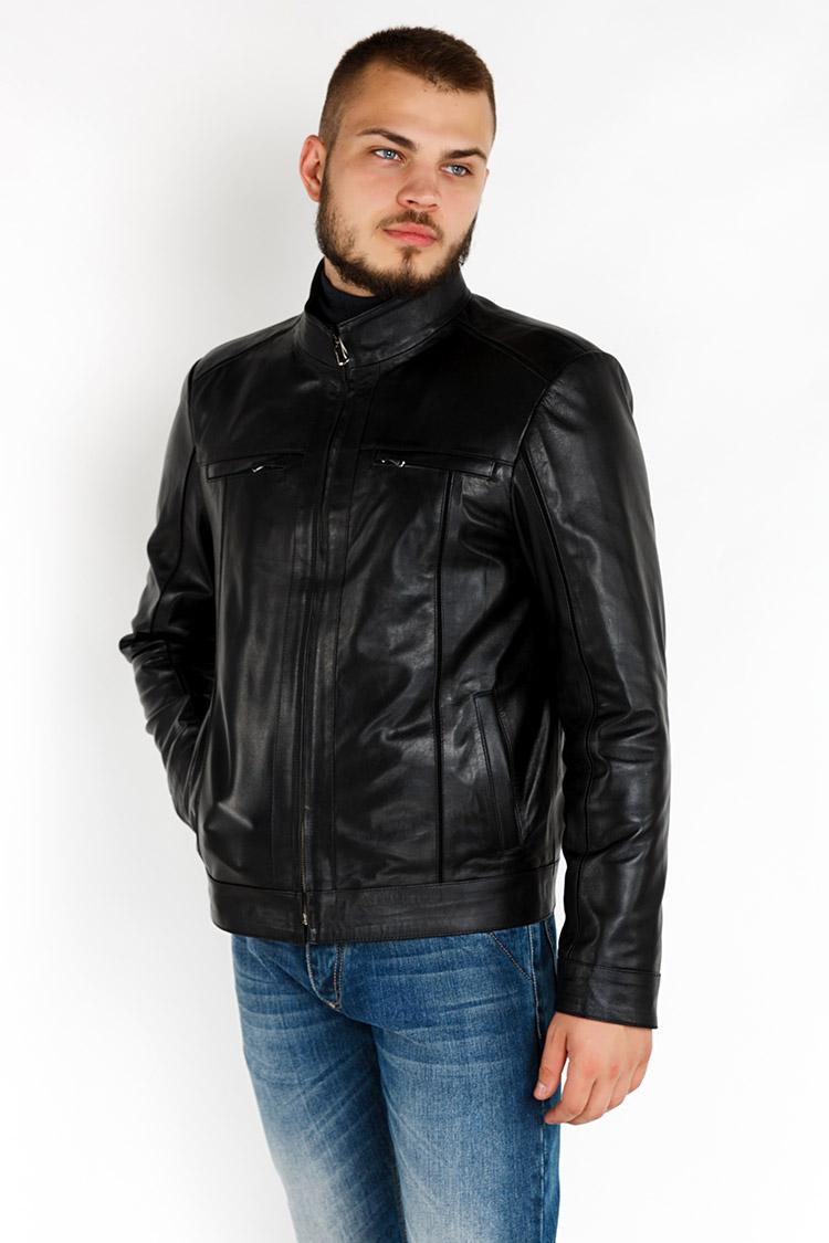 Куртка чоловіча з натуральної шкіри чорна, модель YL-62