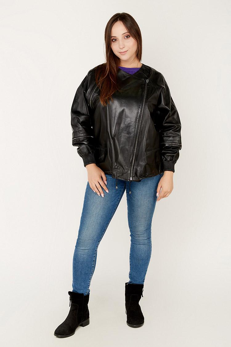 Куртка женская из натуральной кожи черная, модель 715