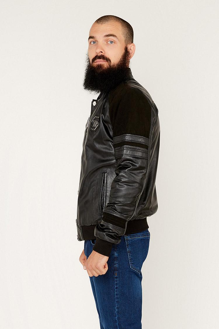 Куртка чоловіча з натуральної шкіри чорна, модель 013