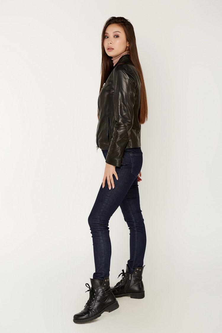 Куртка женская из натуральной кожи черная, модель B-2305/K