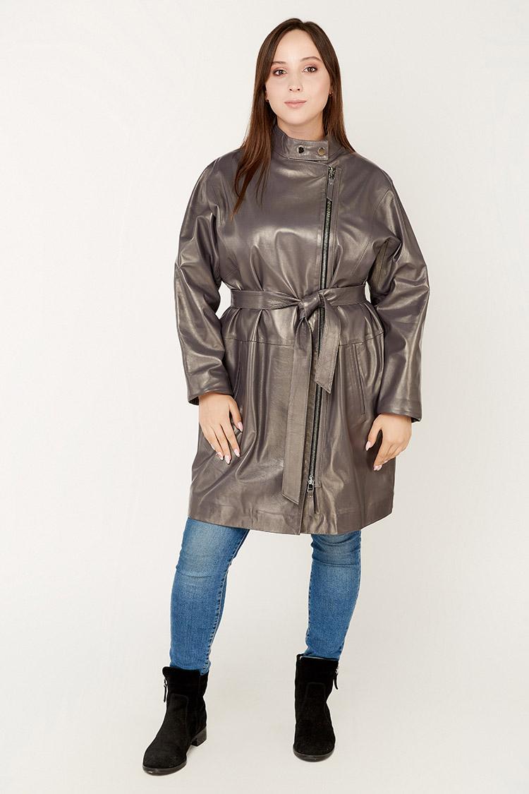 Куртка женская из натуральной кожи фиолетовая, модель 7795