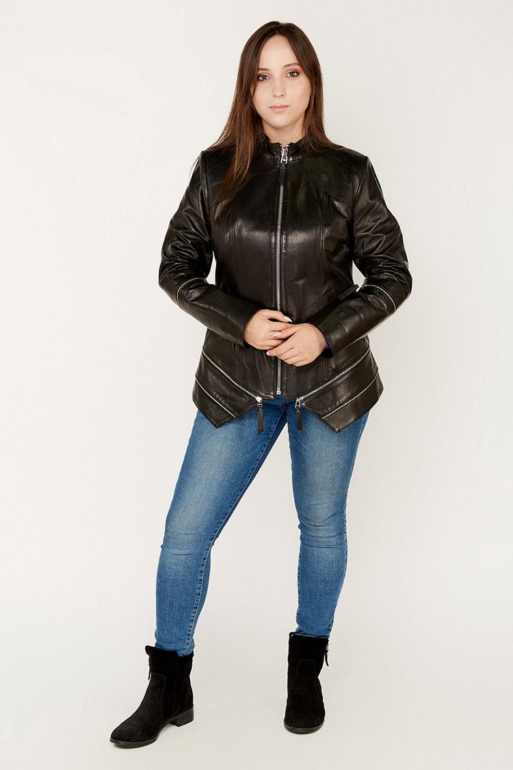 Куртка женская из натуральной кожи черная, модель 704