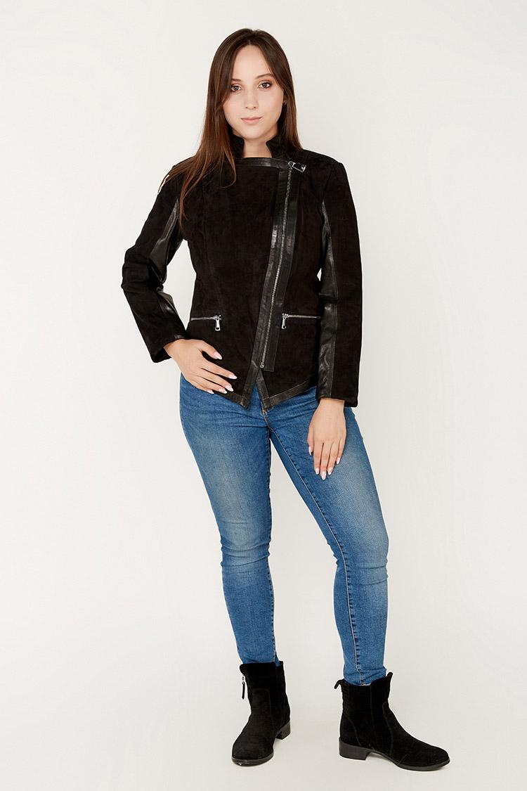 Куртка женская из замша черная, модель 1804