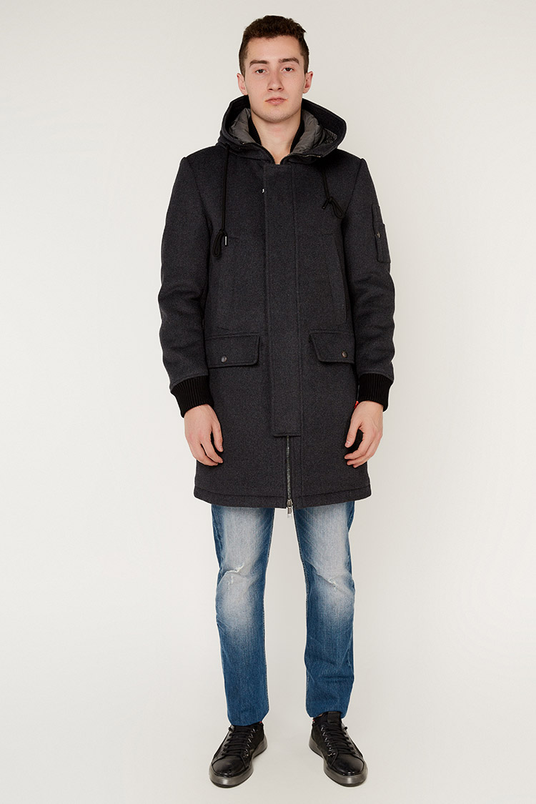 Пальто чоловiче з вовни сiре, модель 69AW550M/KPS