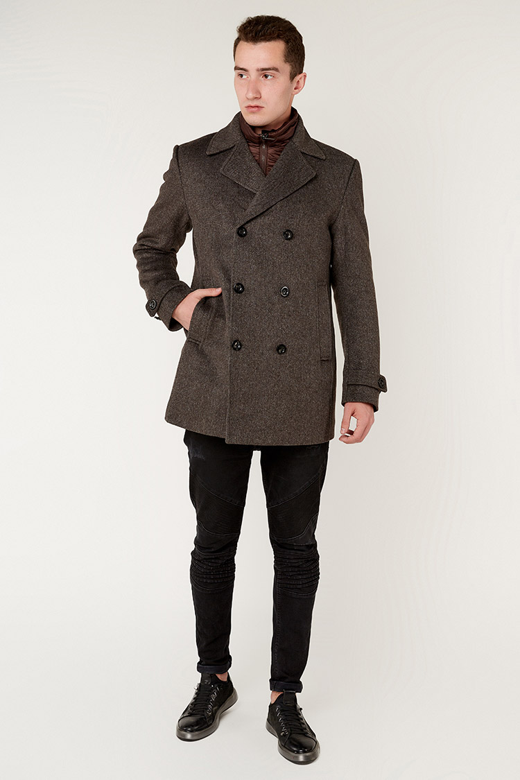 Пальто мужское из шерсти коричневое, модель 69AW802M