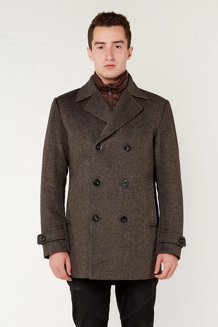 Пальто чоловiче з вовни коричневе, модель 69AW802M