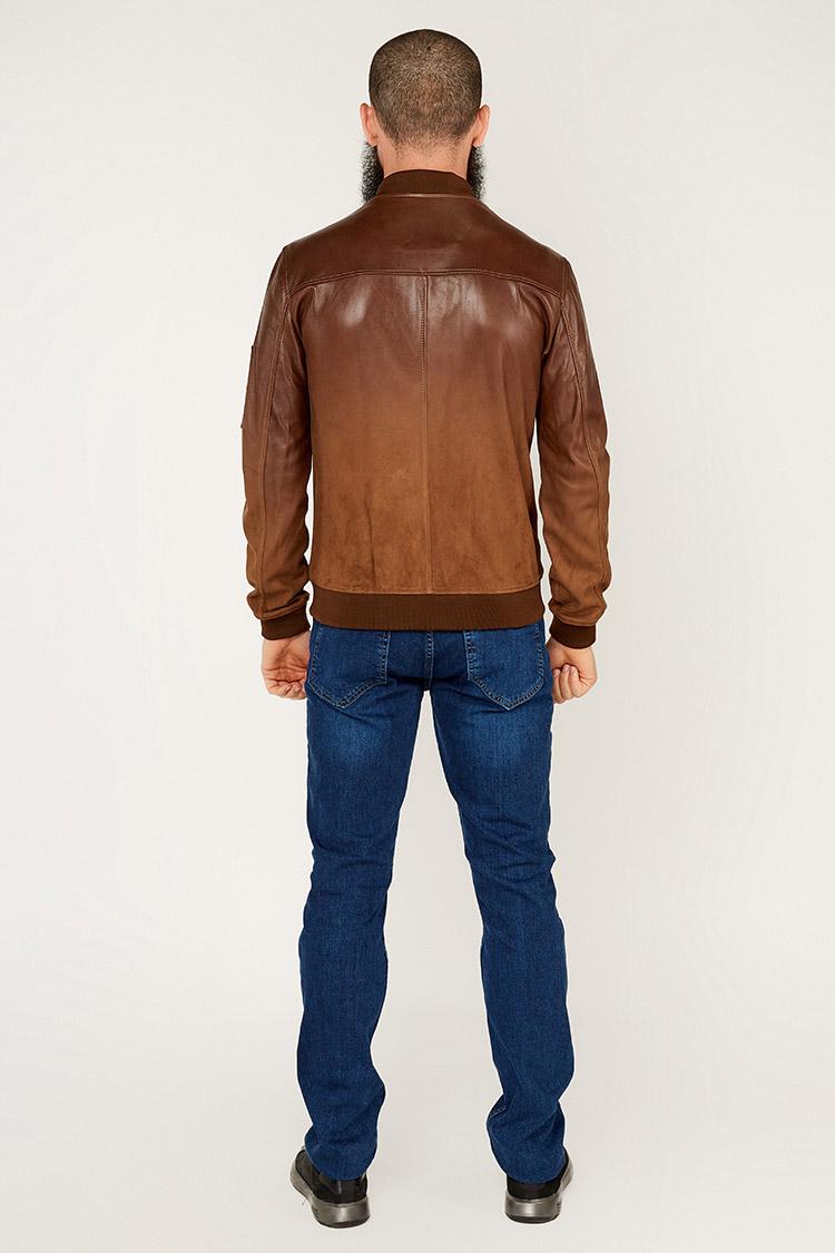 Куртка чоловіча із замшу коричнева, модель 16NWPND-01