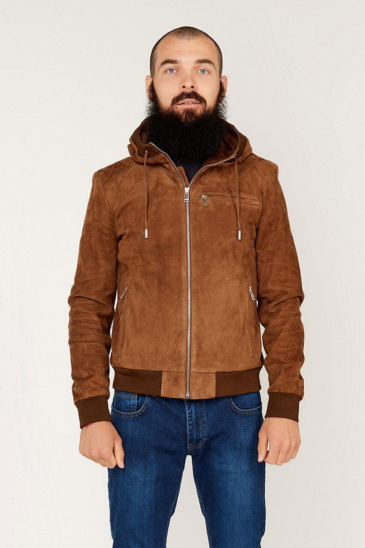 Куртка чоловіча із замшу коричнева, модель L 728/KPS