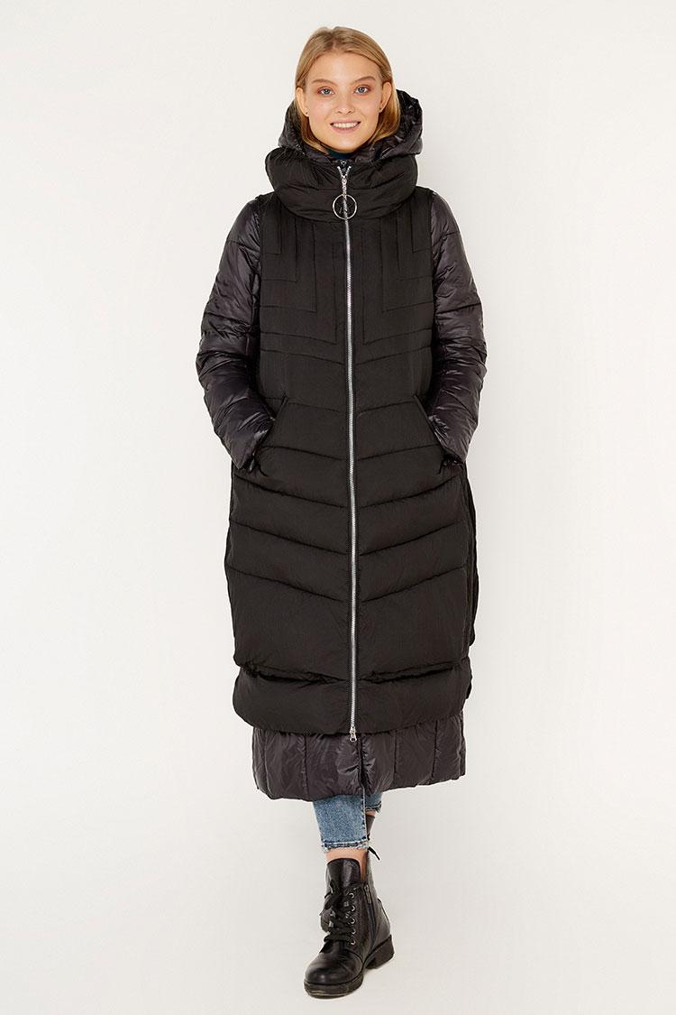 Куртка женская из полиэстера черная, модель K 5134/KPS+жилет